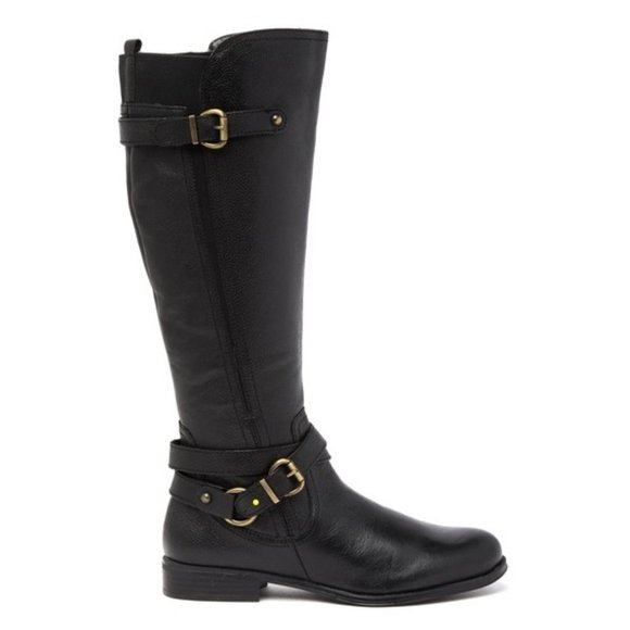 Naturalizer Black Buckle Leather June Boots Riding